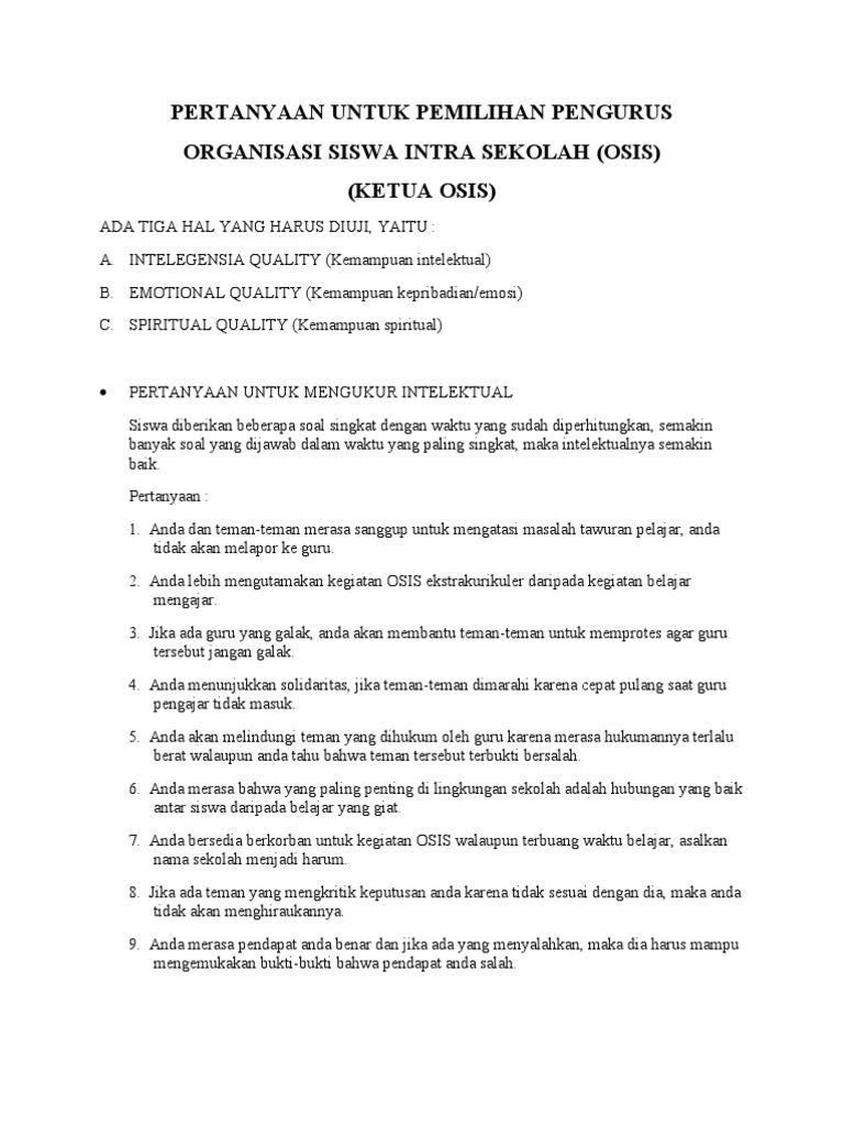 Pertanyaan Untuk Pemilihan Pengurus Osis