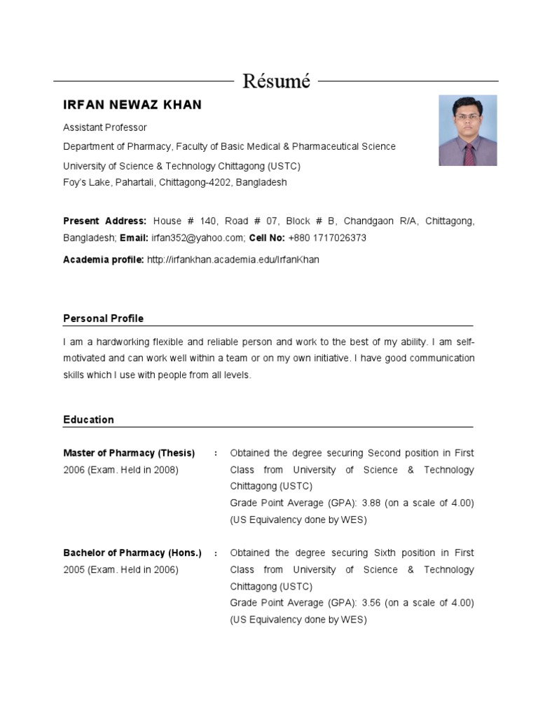 Resume of Irfan Newaz Khan   Graduate Record Examinations