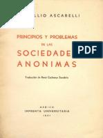 Ascarelli Tullio - Principios Y Problemas de Las Sociedades Anonimas