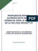 """Anteproyecto de Ley Orgánica de """"Mejora"""" de la Calidad Educativa"""