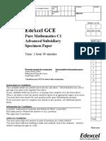 Pure Maths C1 C4 Specimen Paper MkScheme