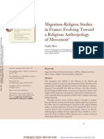 Bava - Migration:Religion Studies in France. Evolving Toward a Religious Anthropology of Movement