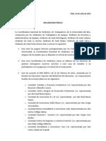 Declaración Coordinadora Sindicatos U del Mar 10-07-2012