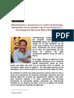 Denuncia amenazas Domingo Hernández