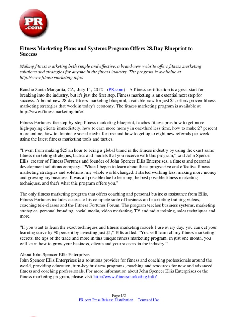 Fitness marketing plans and systems program offers 28 day blueprint fitness marketing plans and systems program offers 28 day blueprint to success press release marketing malvernweather Images