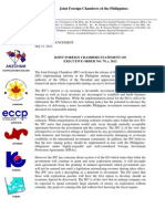 The Joint Foreign Chambers Statement on Executive Order 79 Reforming the Philippine Mining Sector