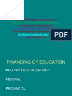 Financing of Education in Pakistan Dr M H  Shah