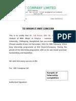 Summer Internship Completion Certificate Format