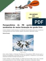 Paraquedistas da PB quebram recorde nordestino de maior formação de queda livre
