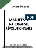 Duprat François, Manifeste nationaliste révolutionnaire
