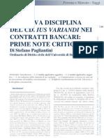 Pagliantini ''Nuova Disciplina Del CD. Ius Variando Nei Contratti Bancari''
