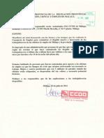 Escrito CCOO 10 de julio a la Delegación Provincial