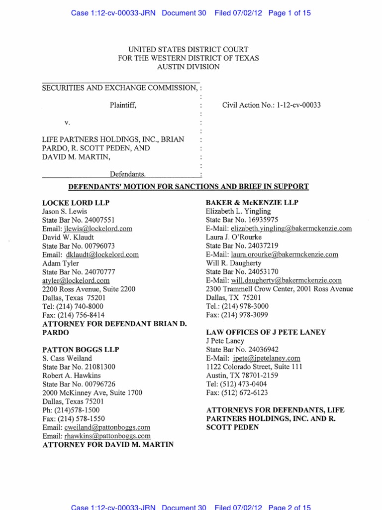 Defendants\' Motion for Sanctions and Brief in Support | Discovery ...