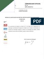 Normas de Classificação para Árbitros, Árbitros Assistentes e Observadores - Futebol Onze
