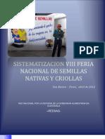 SISTEMATIZACIÓN VIII FERIA NACIONAL DE SEMILLAS 2012