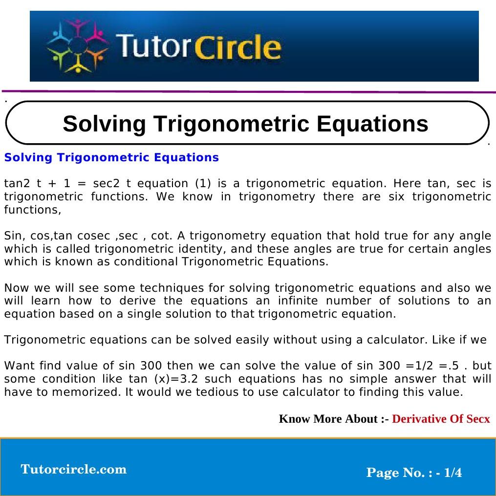 Colorful Trigonometry Problem Solver With Steps Adornment ...