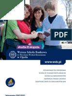 Informator 2012 - Studia II Stopnia - Wydział Ekonomiczny w Opolu Wyższej Szkoły Bankowej we Wrocławiu