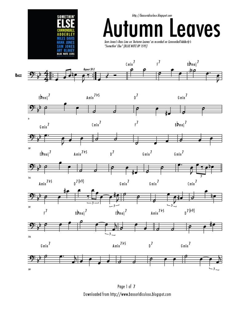 Autumn Leaves Bassline Transcription | Musical Techniques | Music