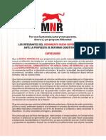 La posición del MNR frente a las Reformas Constitucionales