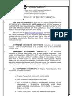 Visa List of Docs Student