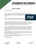Nota de Prensa Guaros a Campamentos Nba