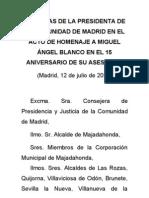 Palabras de Esperanza Aguirre en el acto de homenaje a Miguel Ángel Blanco