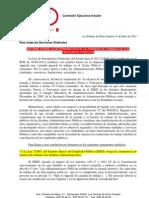 Informe sobre jornadas y horarios tras la aprobación de la LPGE 2012
