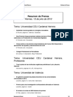 Resumen prensa CEU-UCH 13-07-2012
