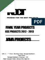 NCCT IEEE Java Project List 2012
