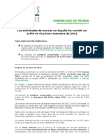 NP PONS Patentes y Marcas Internacional 20120713- Crecimiento solicitudes de marca en España en el primer semestre de 2012
