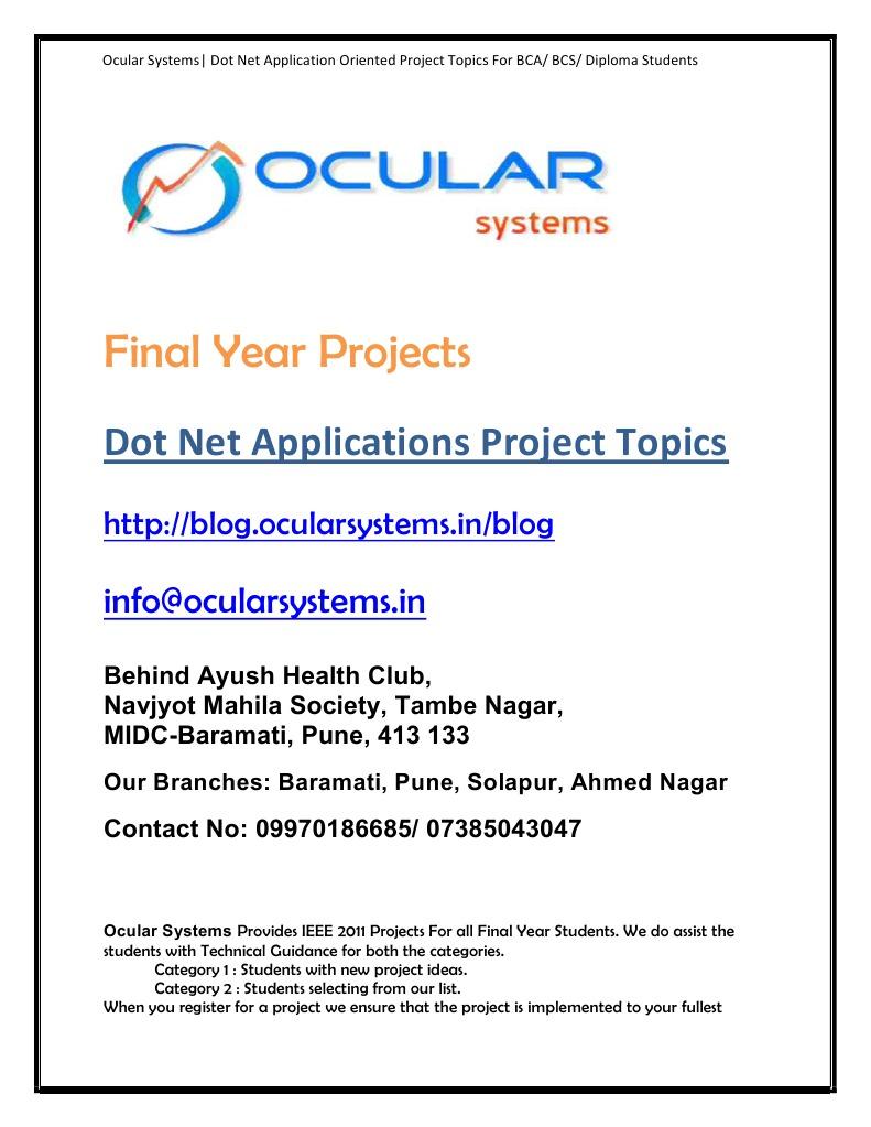 Dot net Applications Projects BCA BCS Diploma | World Wide Web