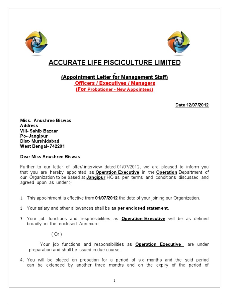 Appointment letter format income tax employment altavistaventures Gallery