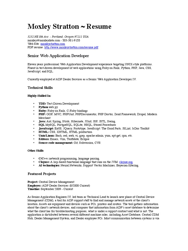 Resume Pdf Web Application Application Programming Interface