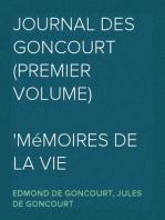 Journal des Goncourt  (Premier Volume) Mémoires de la vie littéraire