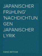 Japanischer Frühling Nachdichtungen Japanischer Lyrik