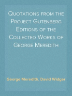 Quotations from the Project Gutenberg Editions of the Collected Works of George Meredith
