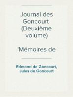 Journal des Goncourt  (Deuxième volume) Mémoires de la vie littéraire