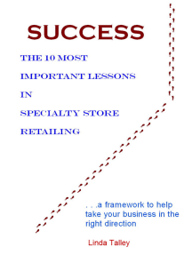 Success: The 10 Most Important Lessons in Specialty Store Retailing