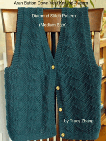 Aran Button Down Vest Knitting Pattern Diamond Stitch Pattern