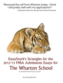 EssaySnark's Strategies for the 2012-'13 MBA Admissions Essays for The Wharton School