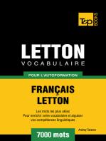Vocabulaire Français-Letton pour l'autoformation