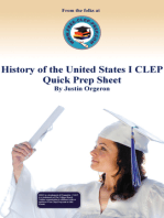 History of the United States I CLEP Quick Prep Sheet