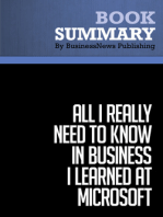 All I Really Need to Know in Business I learned at Microsoft  Julie Bick (BusinessNews Publishing Book Summary)