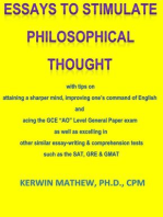 """Essays To Stimulate Philosophical Thought - with tips on attaining a sharper mind, improving one's command of English and acing the GCE """"AO"""" Level General Paper exam ..."""