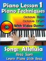 Piano Lesson #1 - Piano Techniques - Octave Bass, Octave Drums with Video Demos - Song: Alleluia: Learn Piano With Rosa