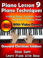"Piano Lesson #9 - Piano Techniques - Walking Bass, Octaves Rock, Rhythmic Walking Bass with Video Demos to ""Onward Christian Soldiers"""