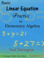 Basic Linear Equation Practice in Elementary Algebra, Grades 4-5