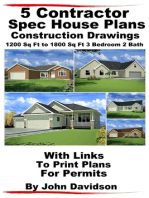 5 Contractor Spec House Plans Blueprints Construction Drawings 1200 Sq Ft to 1800 Sq Ft 3 Bedroom 2 Bath