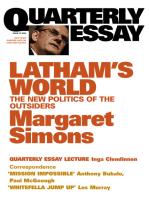 Quarterly Essay 15 Latham's World