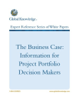 Business Case: Information for Project Portfolio Decision Makers